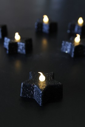 Glitter Star Tea Lights - Black