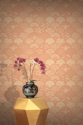 Feathr Wallpaper - Silver Feathers - Terracota