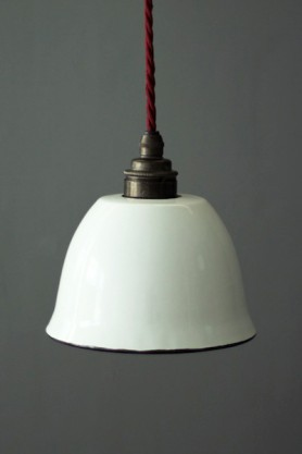 Small Enamel Lamp Shade - White