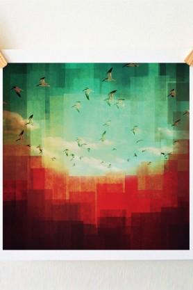 Summer City Art Print - 30cm x 30cm
