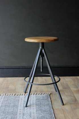 Svalbard Wooden Bar Stool - Charcoal