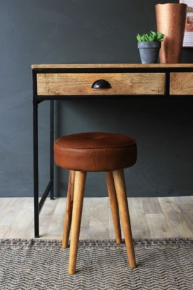 Tapas Bar Leather Stool - Short