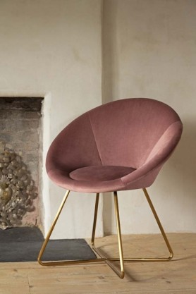 Lifestyle image of The Grand Velvet Circular Dining Chair in Rose Pink