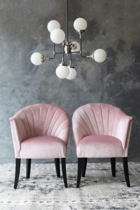 The Lovers Velvet Chair - Blush Pink