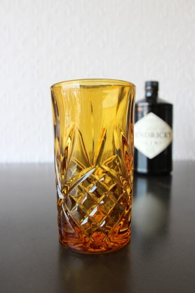 Old Fashioned Crystal Style High Ball Glass - Amber