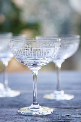Set Of 6 Vintage Style Crystal Champagne Saucers - Various Designs
