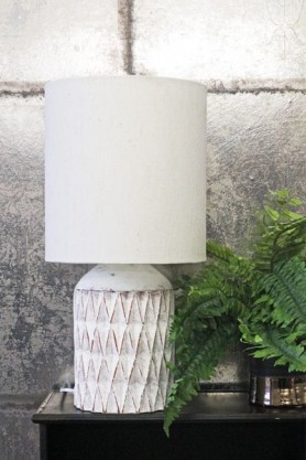 White Geometric Terracotta Table Lamp With Shade