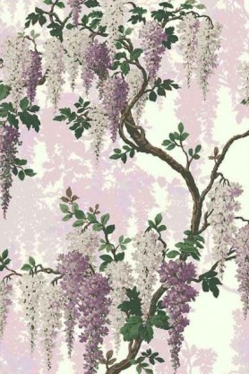 Swatch detail image of the Lilac Bloom Wallpaper by Pearl Lowe