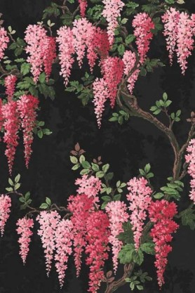 Swatch detail image of the Wisteria Noir Black Wallpaper by Pearl Lowe