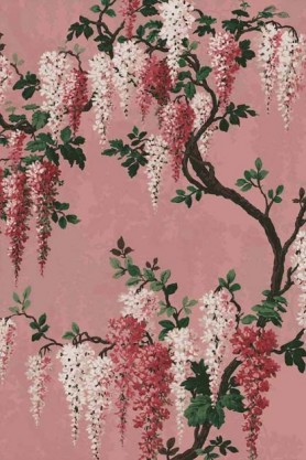 Swatch detail image of the Wisteria Pink Bloom Wallpaper by Pearl Lowe