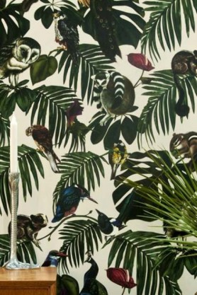Light Amazonia Wallpaper - Light background with animals hiding in the foliage - Rockett St George
