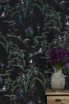 Lifestyle image of Witch & Watchman Folia Wallpaper - Dark