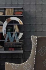 Andrew Martin Engineer Collection - Colonial 'Quilted Leather' Wallpaper - Charcoal