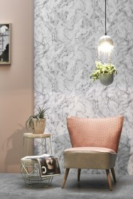 Koziel White Grey Marble Wallpaper