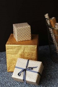 Set Of 15 Sheets Of Hand Made Glitter Gift Wrap - Gold