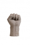 cutout Image of the Distressed Stone Effect Fist Hand Ornament on a white background