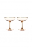 Set Of 2 Rose Pink & Gold Champagne Coupe