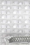 Young & Battaglia Bookshelf Wallpaper - White