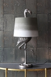 Antique Silver Flamingo Table Lamp With Khaki & White Shade