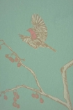 Close-up image of Barneby Gates Wallpaper - English Robin - Jade detail