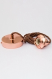 Image of the E27 Copper Flex & Fitting Set With Shade Ring coiled up on wahite backfround lifestyle image