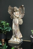 Gold Finish Angel Ornament with plants on dark wall background lifestyle image