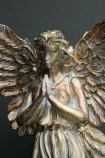 Gold Finish Angel Ornament detail image of face and hands