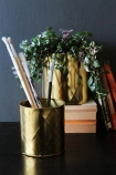Set Of 2 Gold Effect Faceted Planters