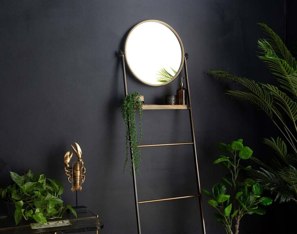 image of the Bathroom Mirror Ladder Storage Unit against dark walls with lots of green plants
