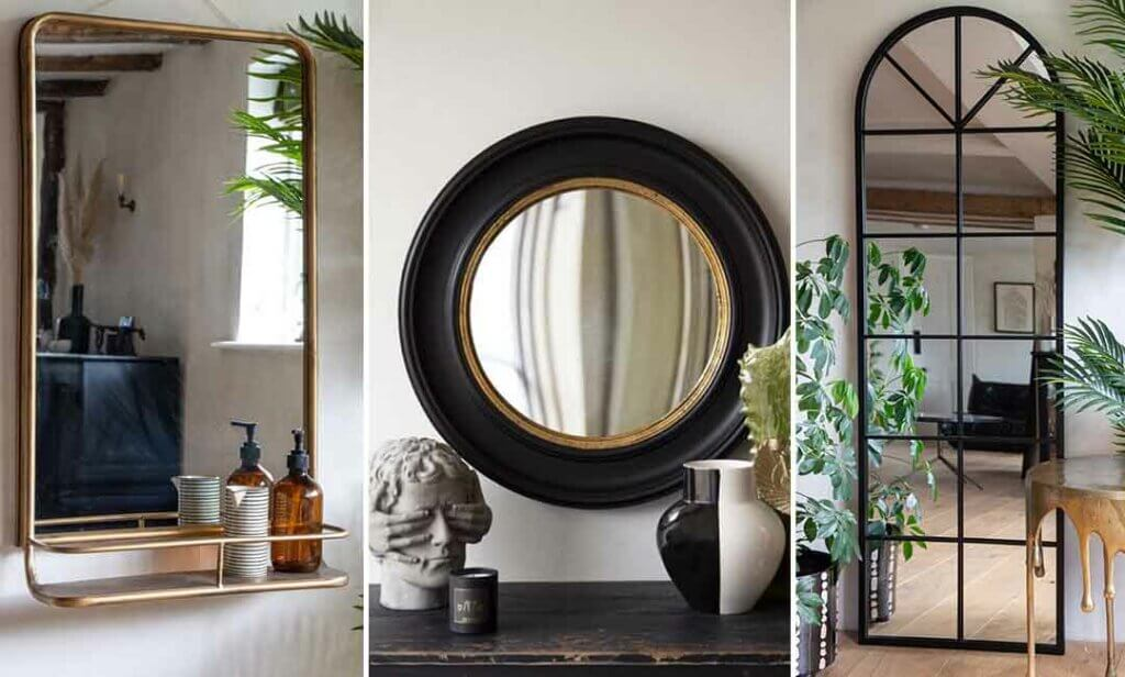grid of three mirrors - 1 mirror with shelf, 1 convex mirror and 1 window frame mirror