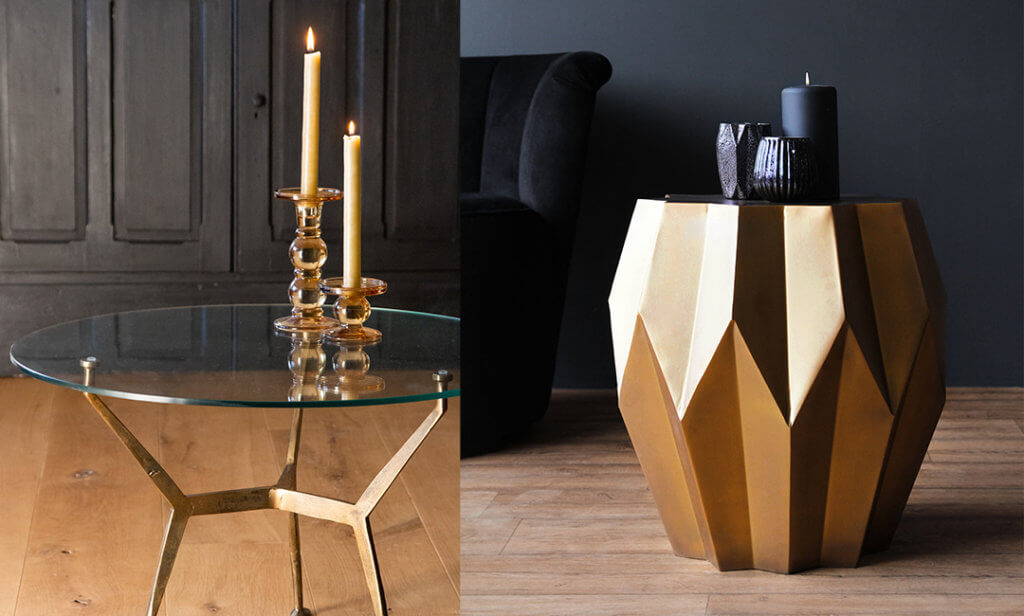 two coffee tables with candles