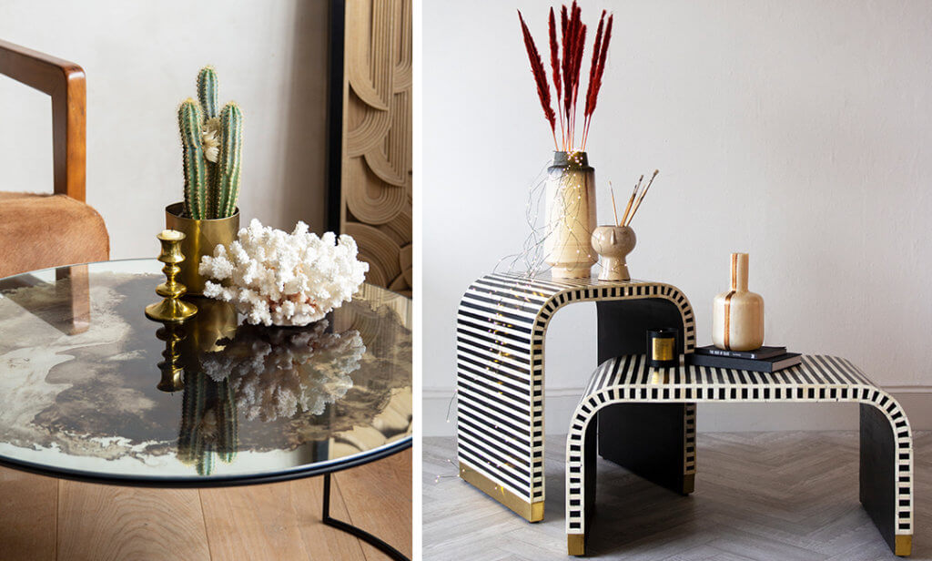 two images of coffee tables with decorative objects stacked in layers.