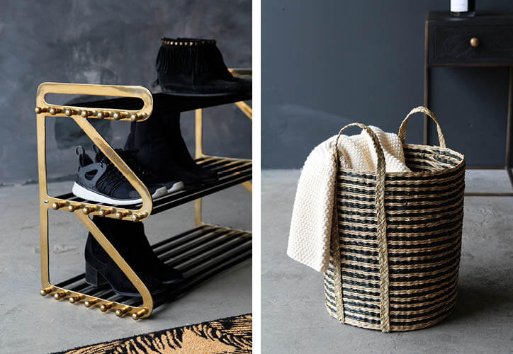The Rockett St George Three Tier Black & Brass Shoe Rack andtheSeagrass Laundry Basket With Handles.