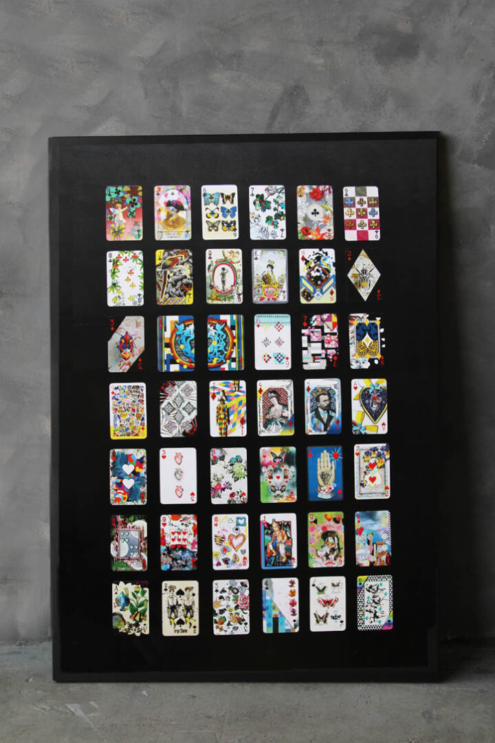 Lacroix playing cards in a black frame