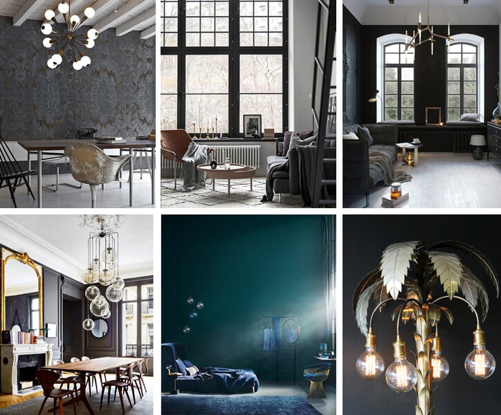 A collage of images from Pinterest of cool toned living room schemes.
