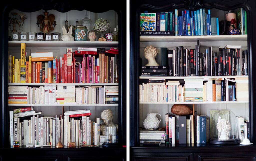 two colour coded bookshelves - a great display idea.