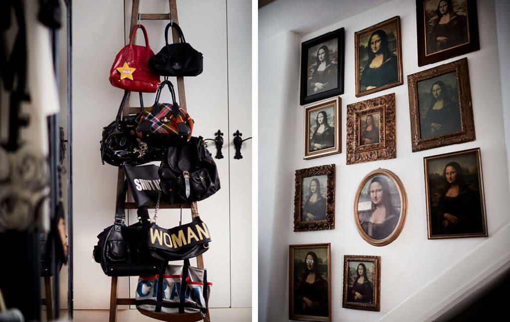 Mastering the art of collections, the images feature a handbag display and mona lisa art wall.