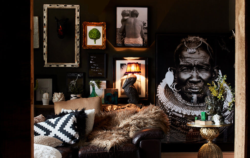 living room with picture wall art display