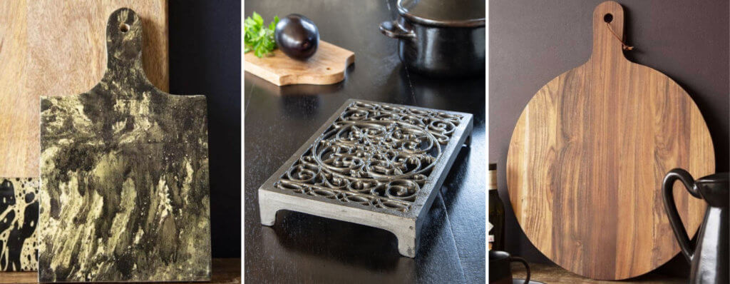 grid image of a marble cutting board, trivet and circular bread board