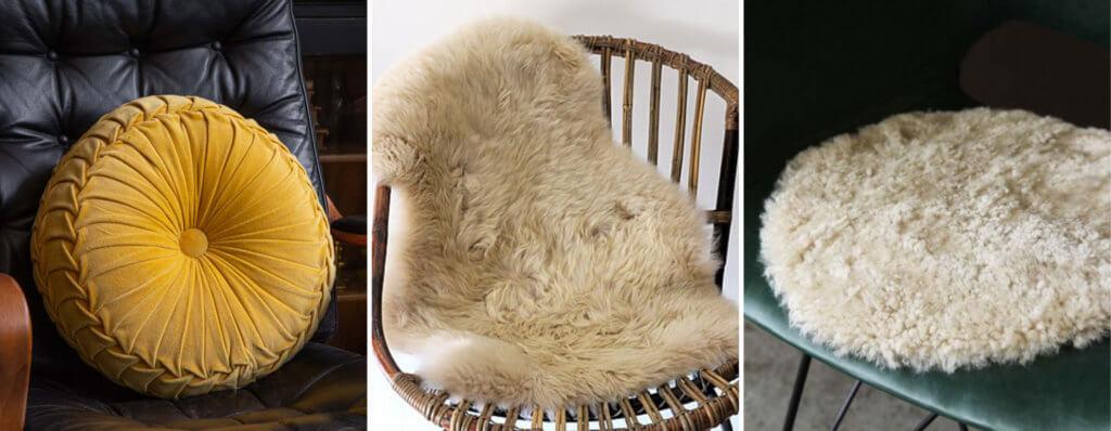 image of a circular cushion, sheepskin rug and seat pad.