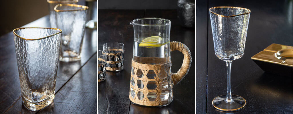 grid image of a water glass, water jug and wine glass
