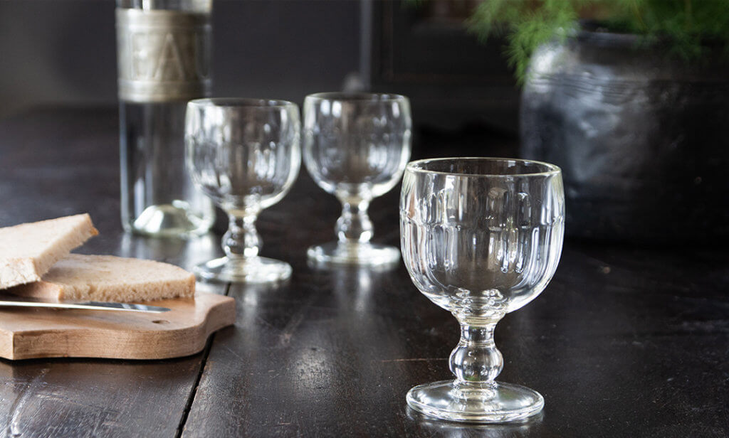 image of three glass goblets