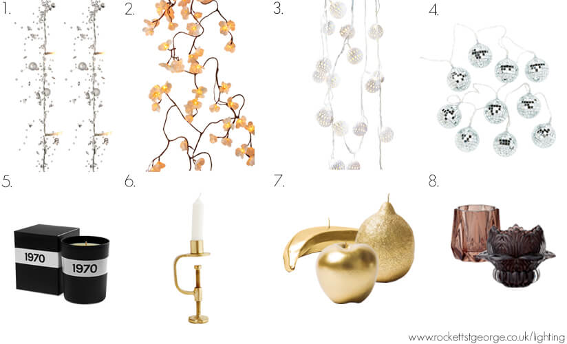A selection of Rockett St George fairy lights and candles