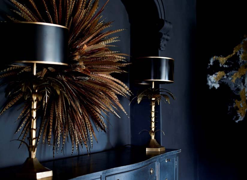 Palm Tree Table Lamps on a sideboard