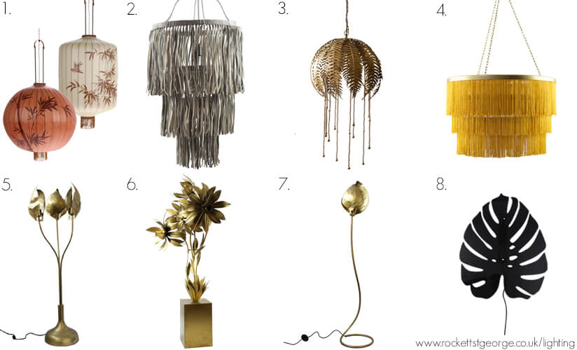 A selection of Rockett St George chandeliers and table lamps