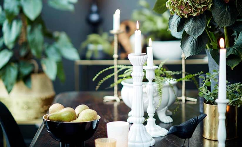 Dining tablescape with white candleholders