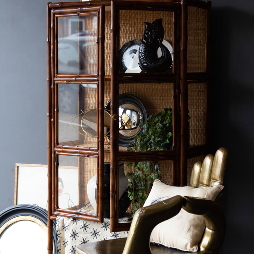 brown bamboo storage cabinet