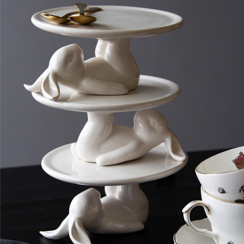 Lazy Rabbit Cupcake Plates stacked on top of each other