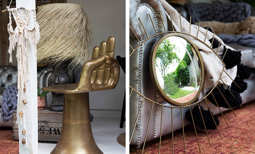 gold metal hand chair and eye mirror