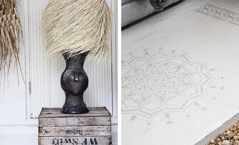 outdoor table lamp and floor stencil design